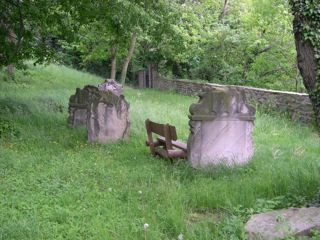 Bild: Historische Grabsteine auf dem Friedhof neben der Schlosskirche von Walbeck.