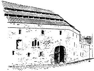 Bild: Der Graue Hof zu Aschersleben in einer historischen Abbildung. Dieses Bild ist gemeinfrei, weil seine urheberrechtliche Schutzfrist abgelaufen ist.