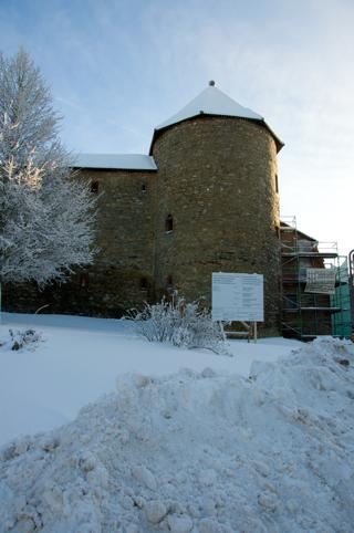Bild: Detailansicht des Rundturmes von der Außenseite des Schlosses.