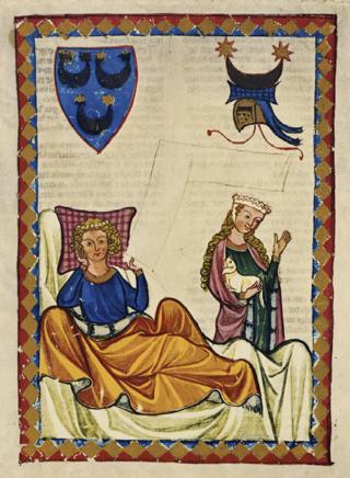 Bild: Heinrich von Morungen in einer Abbildung des CODEX MANESSE. Dieses Bild ist gemeinfrei, weil seine urheberrechtliche Schutzfrist abgelaufen ist.