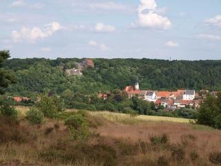 Bild: Blick von der Rabenskuppe auf Schloss Mansfeld und die Stadtkirche von Mansfeld.