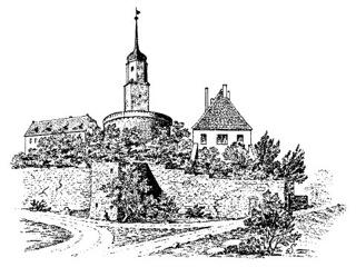 Bild: Historische Abbildung des Schlosses zu Seeburg. Dieses Bild ist gemeinfrei, weil seine urheberrechtliche Schutzfrist abgelaufen ist.