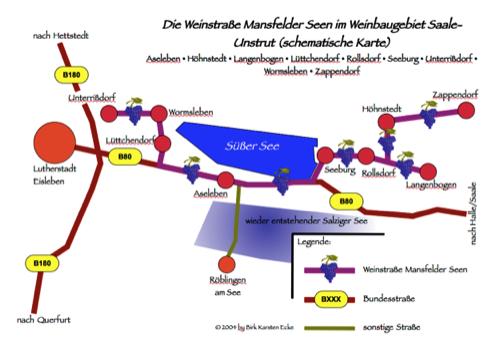 Bild: Schematische Karte der Weinstraße Mansfelder Seen im Weinbaugebiet Saale-Unstrut. (c) 2004 by Birk Karsten Ecke.