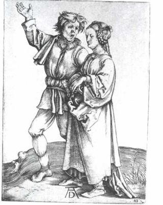 Bild: Der junge Bauer und seine Frau von Albrecht Dürer. Dieses Bild ist gemeinfrei, weil seine urheberrechtliche Schutzfrist abgelaufen ist.
