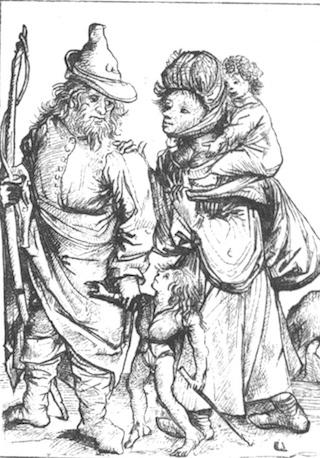 Bild: Bauern im 15. Jahrhundert. Faksimile des Kupferstiches vom sogenannten MEISTER VON 1480. Dieses Bild ist gemeinfrei, weil seine urheberrechtliche Schutzfrist abgelaufen ist.