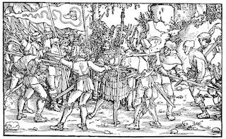 Bild: Aufständische Bauern mit Bundschuhfahne umzingeln einen Ritter. Holzschnitt des sog. Petrarca-Meisters aus dem Trostspiegel, 1539. Dieses Bild ist gemeinfrei, weil seine urheberrechtliche Schutzfrist abgelaufen ist.