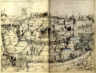 Bild: Wagenburg im 15. Jahrhundert aus dem mittelalterlichen Hausbuch der Sammlung der Fürsten von Waldburg Wolfegg. Dieses Bild ist gemeinfrei, weil seine urheberrechtliche Schutzfrist abgelaufen ist