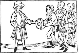 Bild: Bauern bei der Abgabe des Zehnten an ihren Grundherren. Holzschnitt aus dem 15. Jahrhundert. Dieses Bild ist gemeinfrei, weil seine urheberrechtliche Schutzfrist abgelaufen ist.