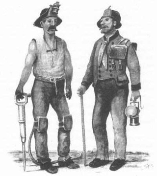 Bild: Häuer und Steiger im Mansfelder Revier. Dieses Bild ist gemeinfrei, weil seine urheberrechtliche Schutzfrist abgelaufen ist.