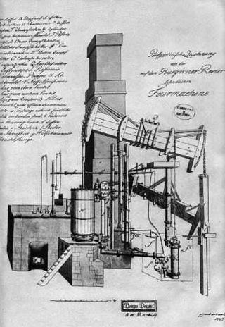 Bild: Risszeichnung der Hettstedter Dampfmaschine. Diese Dampfmaschine ist das Symbol für den langen und schwierigen Aufstieg Preußens vom Agrarstaat zum Industriestaat. Dieses Bild ist gemeinfrei, weil seine urheberrechtliche Schutzfrist abgelaufen ist.