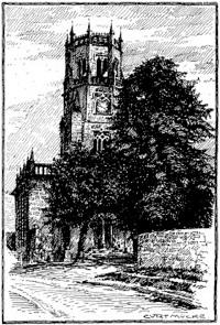 Bild: Die Kirche zu Unterfarnstädt. Tuschezeichnung von Curt Mücke, vor 1940. Dieses Bild ist gemeinfrei, weil seine urheberrechtliche Schutzfrist abgelaufen ist.