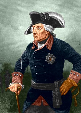 Bild: Ein Mythos bis in unsere Zeit - Friedrich der Große oder der Alte Fritz. Dieses Bild ist gemeinfrei, weil seine urheberrechtliche Schutzfrist abgelaufen ist.
