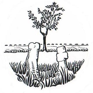 Bild: Die Sühnekreuze bei Greifenhagen. Entwurf von Hans-Werner Scharf zum Gemeindesiegel der Gemeinde Greifenhagen aus den frühen 1990er Jahren nach einer historischen Schützenmedaille des HARZ-WIPPER-SCHÜTZENBUNDES aus den 1930er Jahren.
