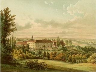 Bild: Das Schloss Haus Zeitz in einer historischen Abbildung. Dieses Bild ist gemeinfrei, weil seine urheberrechtliche Schutzfrist abgelaufen ist.