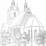 Bild: Die Kirche St. Jakobi zu Hettstedt in einer historischen Zeichnung vom Ende des 19. Jahrhundert. Dieses Bild ist gemeinfrei, weil seine urheberrechtliche Schutzfrist abgelaufen ist.