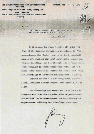 Bild: Der Auftrag Hermann Görings an Reinhard Heydrich, die Endlösung der Judenfrage voranzutreiben. Dieses Bild ist gemeinfrei, weil es von einer Behörde der Regierung der Bundesregierung Deutschlands herausgegeben wurde.