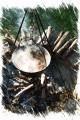 Bild: Ein Kesselgulasch aus Wildfleisch schmort auf dem offenen Holzfeuer.