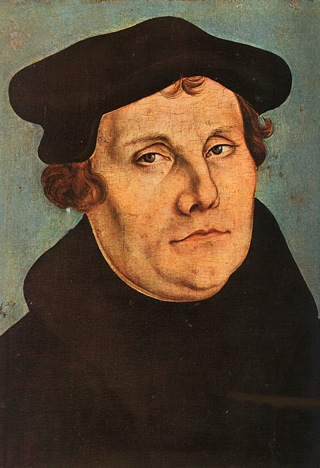 Bild: Martin Luther. Portrait von Lucas Cranach d. Ä. 1529. Dieses Bild ist gemeinfrei, weil seine urheberrechtliche Schutzfrist abgelaufen ist.