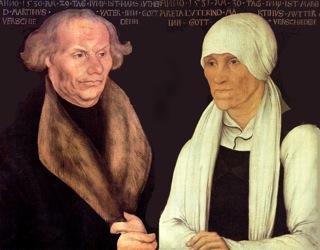 Bild: Die Eltern von Martin Luther. Portrait von Lucas Cranach d. Ä. Dieses Bild ist gemeinfrei, weil seine urheberrechtliche Schutzfrist abgelaufen ist.