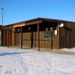Bild: Geschlossen wegen Kälte - Kiosk am Nordufer des Concordiasees bei Schadeleben.