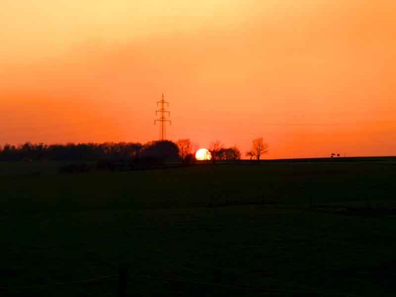 Sonnenuntergang am Pfaffenholz bei Greifenhagen.