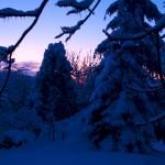 Sonnenuntergang an einem kalten Wintertag in Greifenhagen.