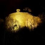 Schloss Mansfeld - Die Bastion MINE bei Nacht.