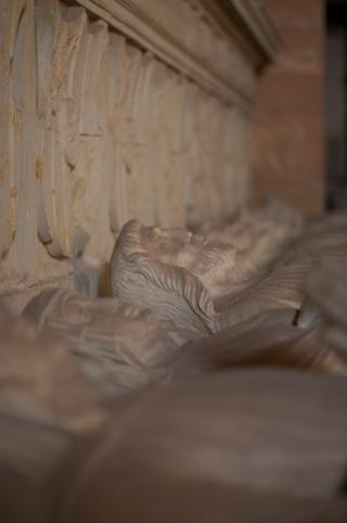 Bild: Die für alle Ewigkeit in Stein gehauenen Gesichter der Grafen von Wettin in der Stiftskirche auf dem Petersberg bei Halle an der Saale. Blick von Süd nach Nord.
