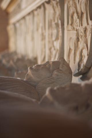 Bild: Die für alle Ewigkeit in Stein gehauenen Gesichter der Grafen von Wettin in der Stiftskirche auf dem Petersberg bei Halle an der Saale. Blick von Nord nach Süd.