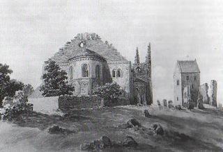 Bild: Ruinen der Stiftskirche auf dem Petersberg bei Halle an der Saale. Aquarell aus dem 19. Jahrhundert. Dieses Bild ist gemeinfrei, weil seine urheberrechtliche Schutzfrist abgelaufen ist.
