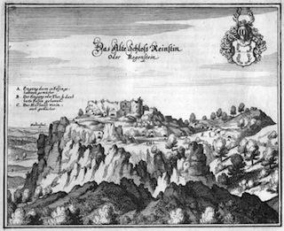 Bild: Das Alte Schloss Reinstein oder Regenstein. Stich von Matthäus Merian aus den Jahren 1654/1658. Dieses Bild ist gemeinfrei, weil seine urheberrechtliche Schutzfrist abgelaufen ist.