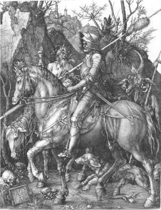 Bild: Ritter, Tod und Teufel von Albrecht Dürer. Dieses Bild ist gemeinfrei, weil seine urheberrechtliche Schutzfrist abgelaufen ist.