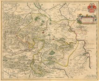 Bild: Karte der Grafschaft Mansfeld aus dem Jahre 1645. Dieses Bild ist gemeinfrei, weil seine urheberrechtliche Schutzfrist abgelaufen ist.