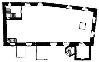 Bild: Grundriss der Kirche St. Margarethen zu Aschersleben. Dieses Bild ist gemeinfrei, weil seine urheberrechtliche Schutzfrist abgelaufen ist.