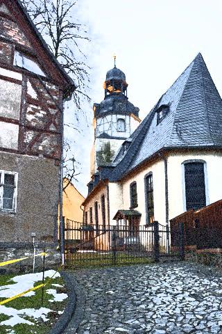Bild: Die Kirche von Wippra im Winter 2011/2012. Render © 2012 by Birk Karsten Ecke.