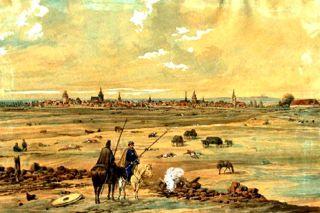 Bild: Blick von der Quandtschen Tabacksmühle über das Schlachtfeld auf Leipzig. Gemälde von Ernst Wilhelm Straßberger aus dem Jahre 1813. Dieses Bild ist gemeinfrei, weil seine urheberrechtliche Schutzfrist abgelaufen ist.