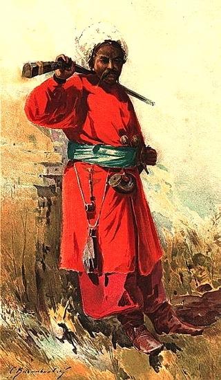 Bild: Saporoger Kosak. Gemälde von Serhii Vasylkivsky (1854–1917) aus dem Jahre 1900. Dieses Bild ist gemeinfrei, weil seine urheberrechtliche Schutzfrist abgelaufen ist.