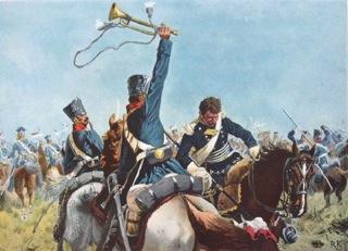 Bild: Szene aus der Schlacht bei Möckern. Gemälde von Richard Knötel (zwischen 1880 und 1914). Dieses Bild ist gemeinfrei, weil seine urheberrechtliche Schutzfrist abgelaufen ist.