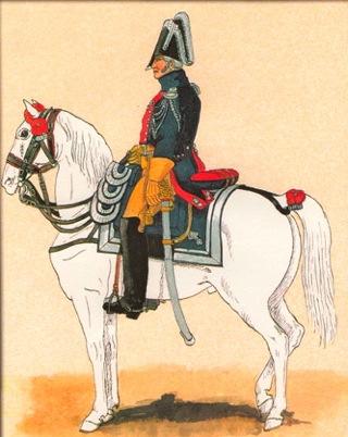 Bild: Französische Gendarmerie um 1819 - Oberstleutnant. Gemälde eines unbekannten Künstlers. Dieses Bild ist gemeinfrei, weil seine urheberrechtliche Schutzfrist abgelaufen ist.