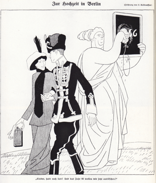 Bild: Zeitgenössische Karikatur auf die Hochzeit der Prinzessin Viktoria Luise von Preußen mit dem Prinzen Ernst August III. von Hannover. Politisch war die Hochzeit nicht unproblematisch, denn Preußen und Hannover befanden sich seit 1866 theoretisch im Kriegszustand. Dieses Bild ist gemeinfrei, weil seine urheberrechtliche Schutzfrist abgelaufen ist.