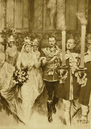 Bild: Die Hochzeit von Prinzessin Viktoria Luise im Jahre 1913 ließ noch einmal die ganze Pracht der Monarchie aufleben. Der gesamte Hochadel Europas - allesamt miteinander verwandt und verschwägert - war anwesend. Nur wenige Monate später mussten sich die Untertanen in den Schützengräben des Ersten Weltkrieges gegenseitig massakrieren. Dieses Bild ist gemeinfrei, weil seine urheberrechtliche Schutzfrist abgelaufen ist.