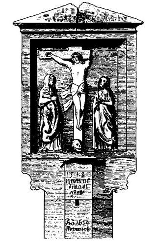 Bild: Die Betsäule von Zappendorf in einer historischen Abbildung. Dieses Bild ist gemeinfrei, weil seine urheberrechtliche Schutzfrist abgelaufen ist.