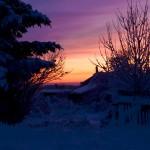 Bild: Winter 2009 auf 2010 - Sonnenaufgang in Greifenhagen.