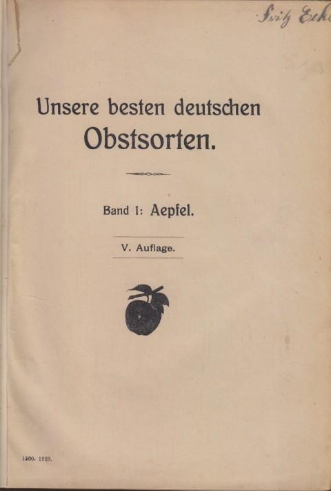 Bild: Inneres Deckblatt des Buches Unsere besten Deutschen Obstsorten Band I: Äpfel von 1923.