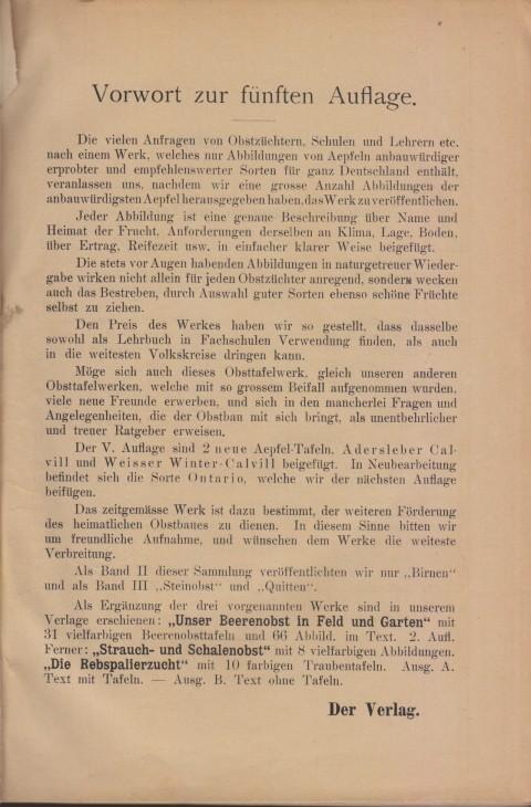 Bild: Vorwort des Buches Unsere besten Deutschen Obstsorten Band I: Äpfel von 1923.