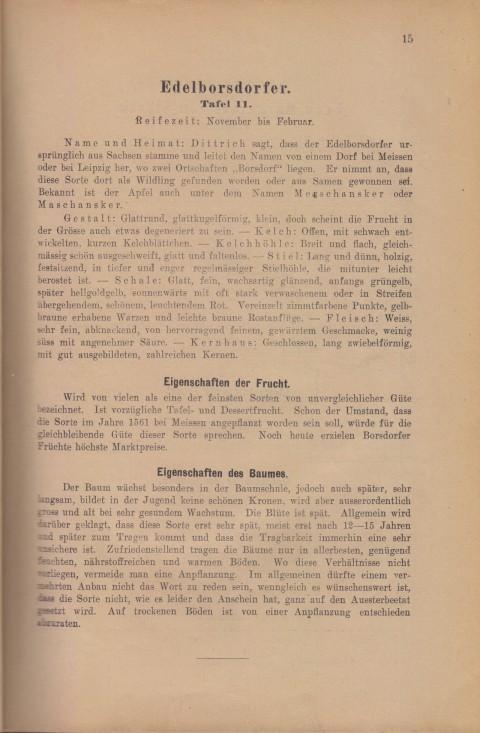 Bild: Beschreibung des Edelborsdorfer im Buch Unsere besten Deutschen Obstsorten Band I: Äpfel von 1923.