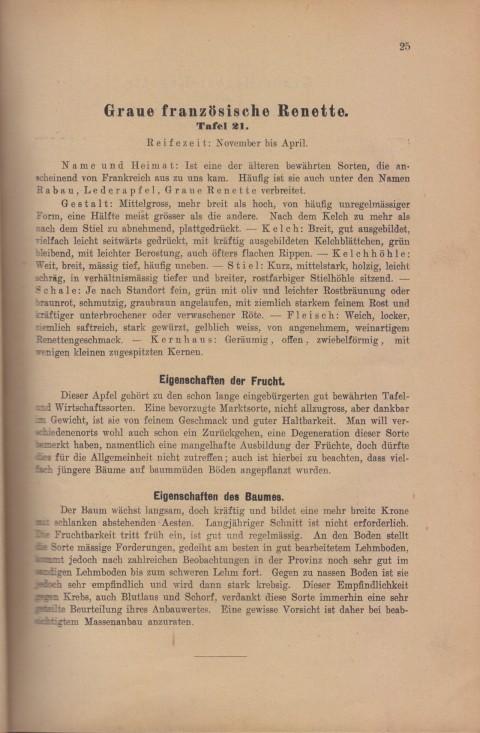 Bild: Beschreibung des Graue Französische Renette im Buch Unsere besten Deutschen Obstsorten Band I: Äpfel von 1923.