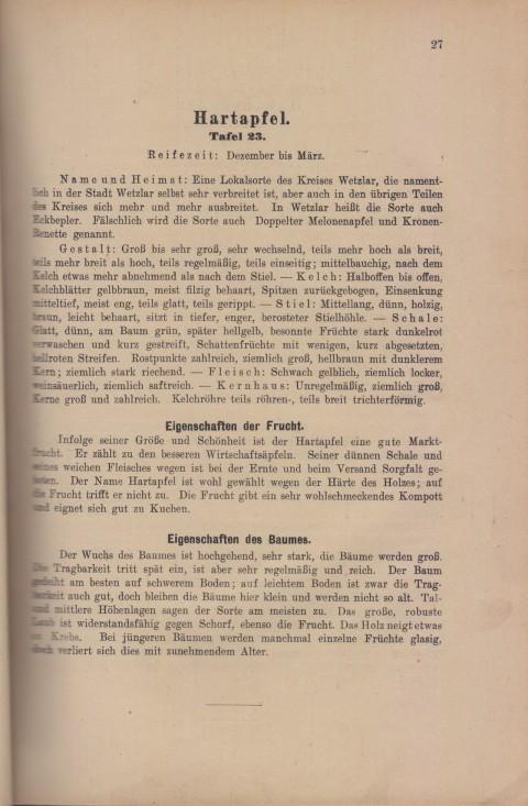 Bild: Beschreibung des Hartapfel im Buch Unsere besten Deutschen Obstsorten Band I: Äpfel von 1923.