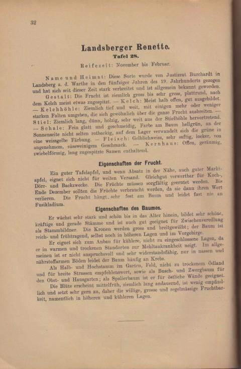 Bild: Beschreibung der Landsberger Renette im Buch Unsere besten Deutschen Obstsorten Band I: Äpfel von 1923.
