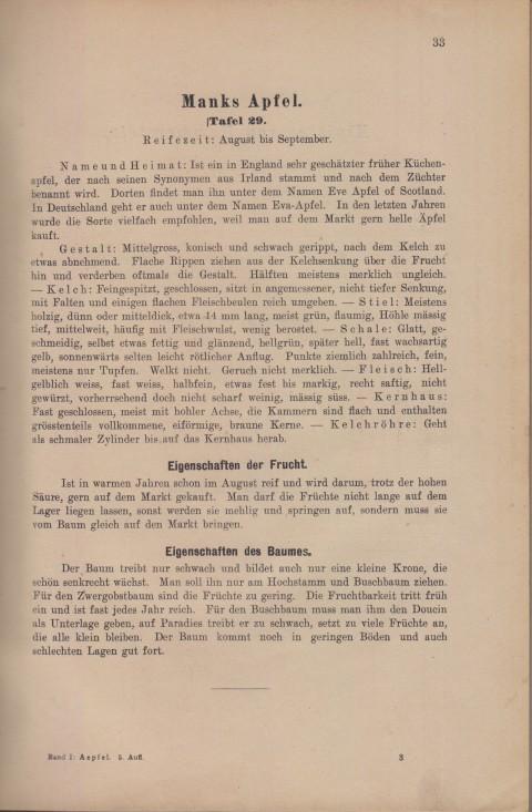 Bild: Beschreibung von Manks Apfel im Buch Unsere besten Deutschen Obstsorten Band I: Äpfel von 1923.